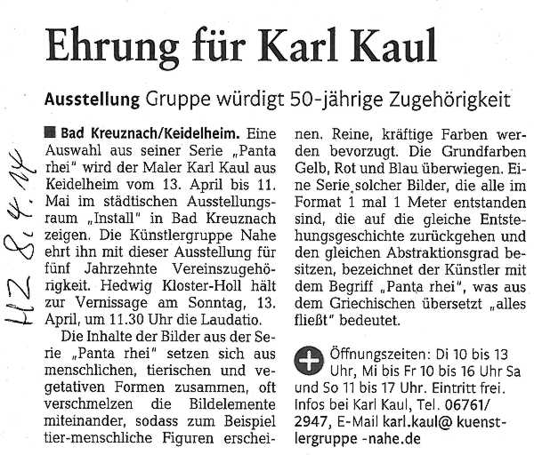 Presseartikel Ausstellung Kaul