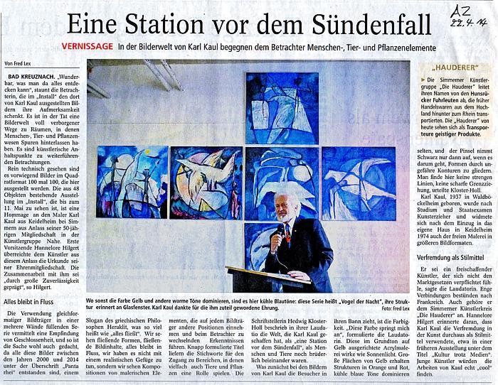 Presseartikel Ausstellung Install Bad Kreuznach