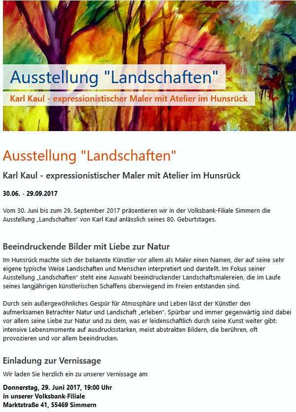Einladung Ausstellung Volksbank Simmern 2017